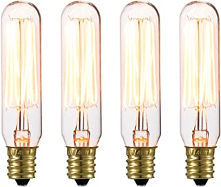 Globe Electric 80151 40W Vintage Edison Mini Tube Clear Glass Dimmable Incandescent Light Bulb 4-Pack, E12 Base, 210 Lumens