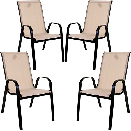 Marko Outdoor Stacking Textoline Chair Black Outdoor Bistro High Back Seating Restaurant Cafe (4 Chairs, Cream)
