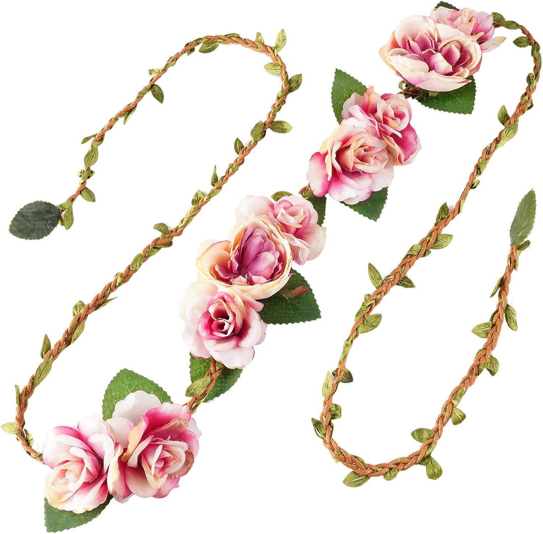 Flower Floral Rattan Belt Flower Sash Crown Wreath Headband Floral Garland JW66