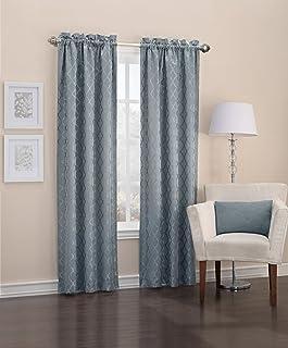 "Sun Zero Viviana Woven Trellis Thermal Lined Curtain Panel, 40"" x 63"", Mineral Green"
