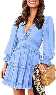 Happy Sailed Women Long Sleeve Ruffle Layer Backless Swing Mini Dress S-XL