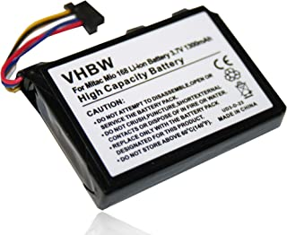vhbw Accu compatibel met Mitac Mio 168, 169, 138 GPS Navigation Navi (1300mAh, 3,7V, Li-Ion)