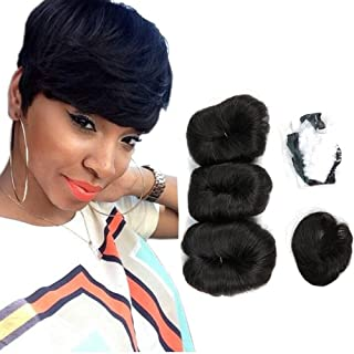 Human Hair Short Weave Brazilian Virgin Hair Extensions 27 Pieces Short Hair Weave With Free Closure And Shower Cap 4inches Color (#27)