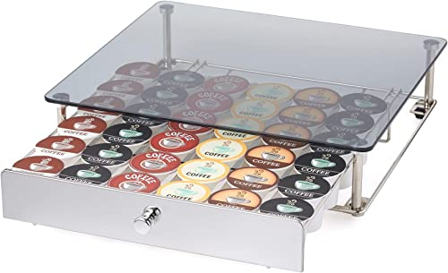 Nifty Rolling Coffee Pod Drawer – Glass Top & Nickel, Compatible with K-Cups, 36 Pod Pack Holder, Under Coffee Pot St...