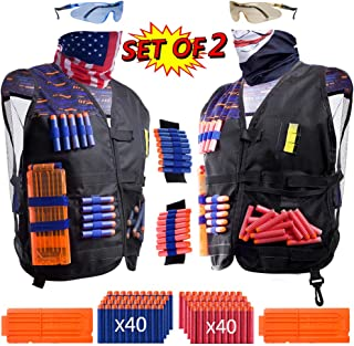 Hely Cancy 2 Pack Kids Tactical Vest Kit for Nerf War: 'Patriot VS Villain', 2 Set Accessories Compatible with Nerf Guns N-Strike Elite Series