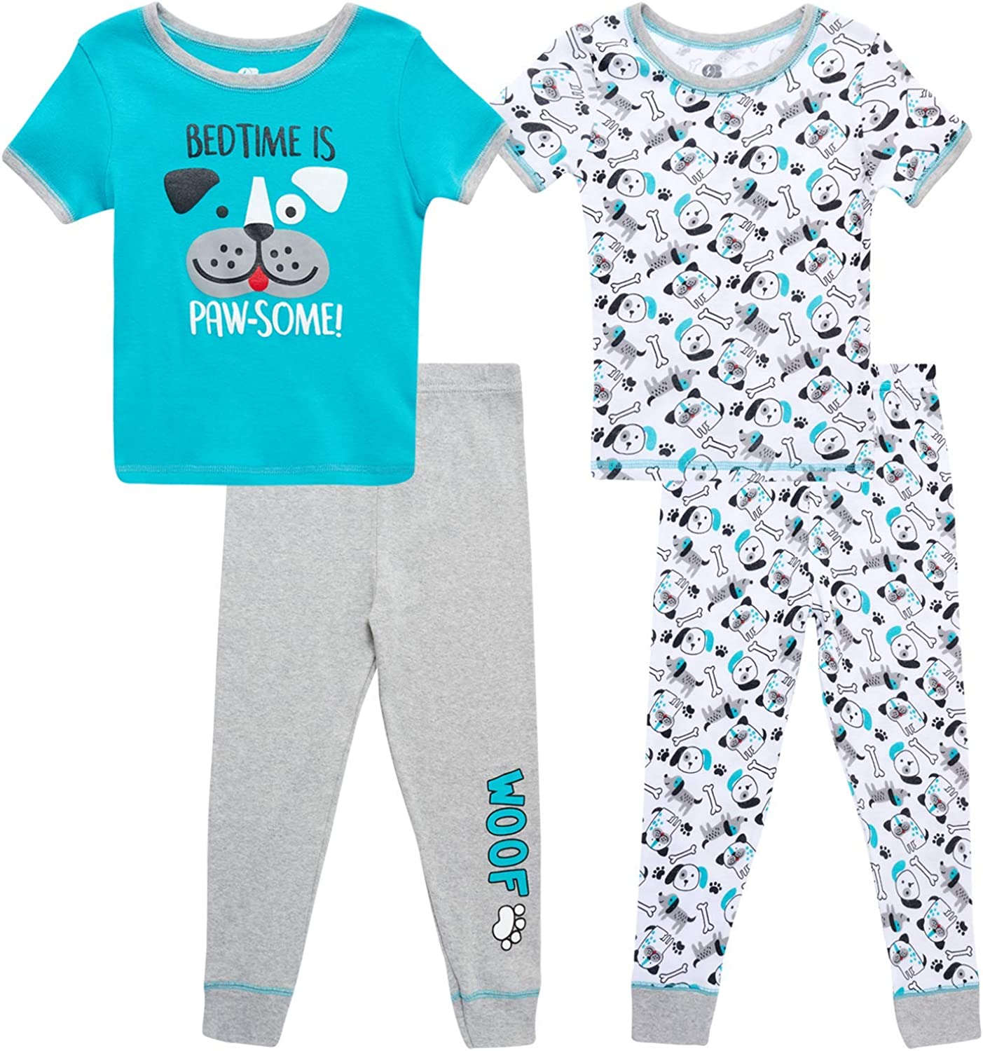 Only Boys Baby Boys' Pajama Set - 4 Piece Snug Fit Short Sleeve T-Shirt and Jogger Sweatpants (Infant/Toddler)