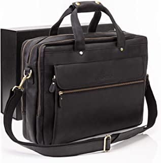 Luxorro Leather Briefcases For Men | Soft, Full-grain Leather Laptop Bags For Men W/hand Stitching That Lasts A Lifetime | Spacious But Compact | Fits 14 inch Laptops, Black