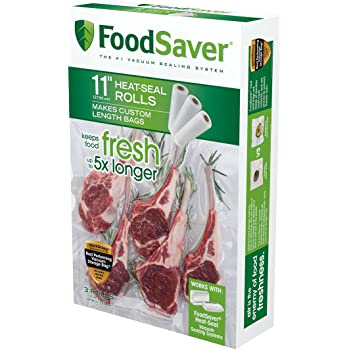"""FoodSaver 11"""" x 16' Vacuum Seal Roll with BPA-Free Multilayer Construction for Food Preservation, 3-Pack"""