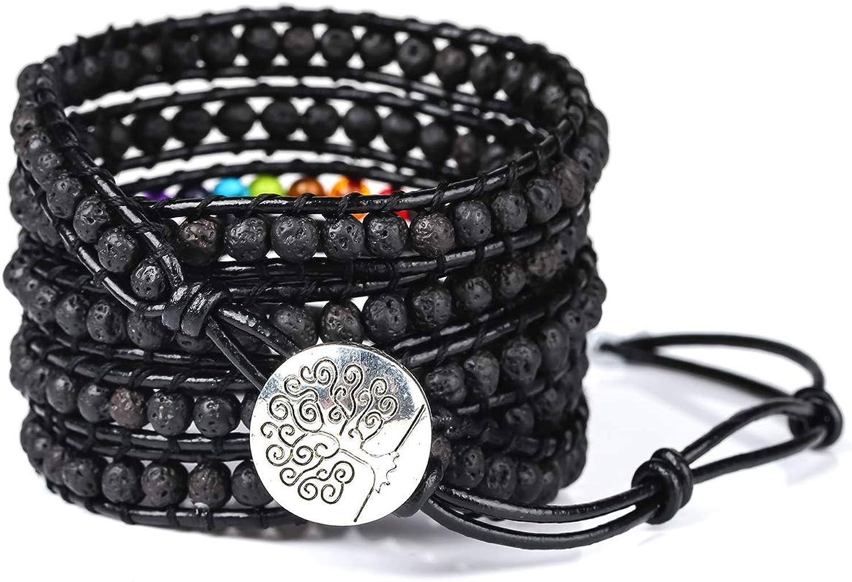PLTGOOD 5 Wrap Leather Bead Bracelet for Men Women Cuff Rope Adjustable 7 Chakras Handmade Yoga Healing Stone Beads Bracelet Bangle