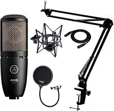 AKG P220 Condenser Microphone with Knox Gear Studio Stand, Pop Filter and XLR Cable