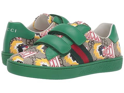 Gucci Kids GG Supreme Double Strap Sneaker (Little Kid)