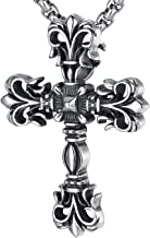 LineAve Men's Stainless Steel Large Gothic Cross Pendant Necklace, 23