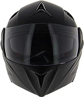 Ambike Casco de moto modular negro mate Talla S