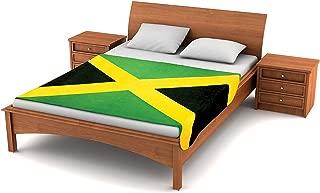 Fuzzy FlagsTM Fleece Jamaican Flag Blanket - 80-inch x 50-inch Oversized Flag of Jamaica Travel Throw Cover