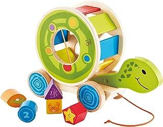 Hape Turtle Shape Sorter Wooden Toys Turtle Wooden Blocks Shape Sorter Pull Toys for Toddlers,  Infant Shape Sorter Travel Toys