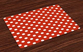 Ambesonne Retro Place Mats Set of 4, Vintage Polka Dots with Big White Circular Round Forms Nostalgic Girlish Art Design, Washable Fabric Placemats for Dining Room Kitchen Table Decor, Red