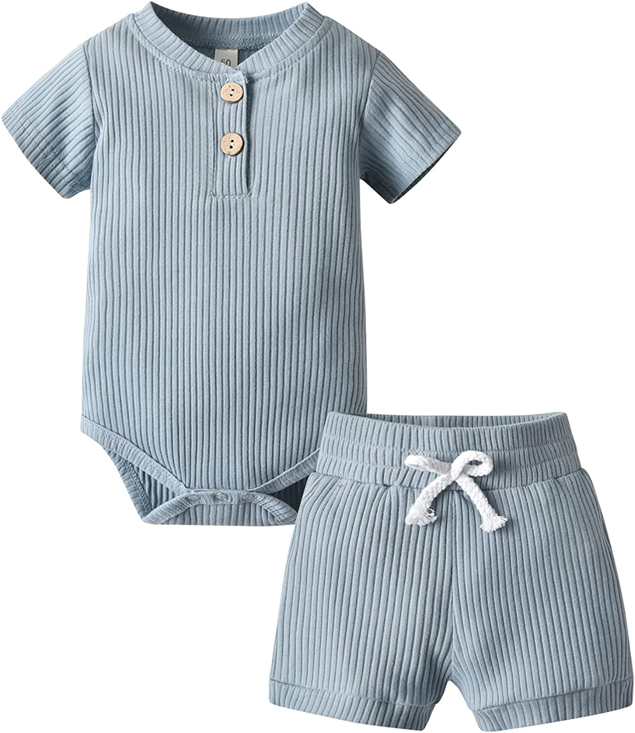 Summer Newborn Baby Boy Girl Clothes Solid Color Ribbed Romper and Shorts Outfits Set