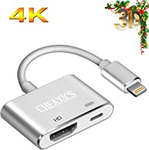 CHEAXICS Digital AV Adapter 2019 Latest Version Digital AV Connector Compatible with iPhone X/8/7/Plus New Edition Plug