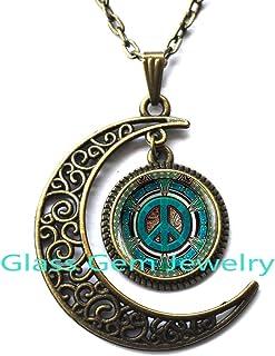 MoonNecklaceMoonPendant,Hippie necklace, Hippie pendant, Hippie jewelry, Peace sign necklace, peace jewelry, peace pendant, men's necklace, Hippie men's jewelry