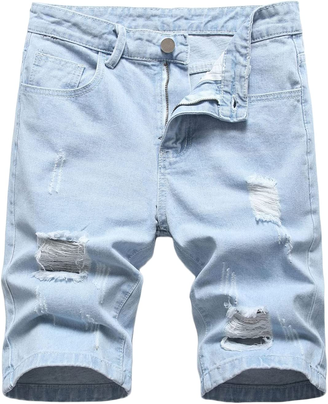 Men's Casual Loose Ripped Denim Shorts Washed Distressed Cotton Jeans Shorts Slim Fit Straight Jean Short-Pant with Hole (Light Blue,31)