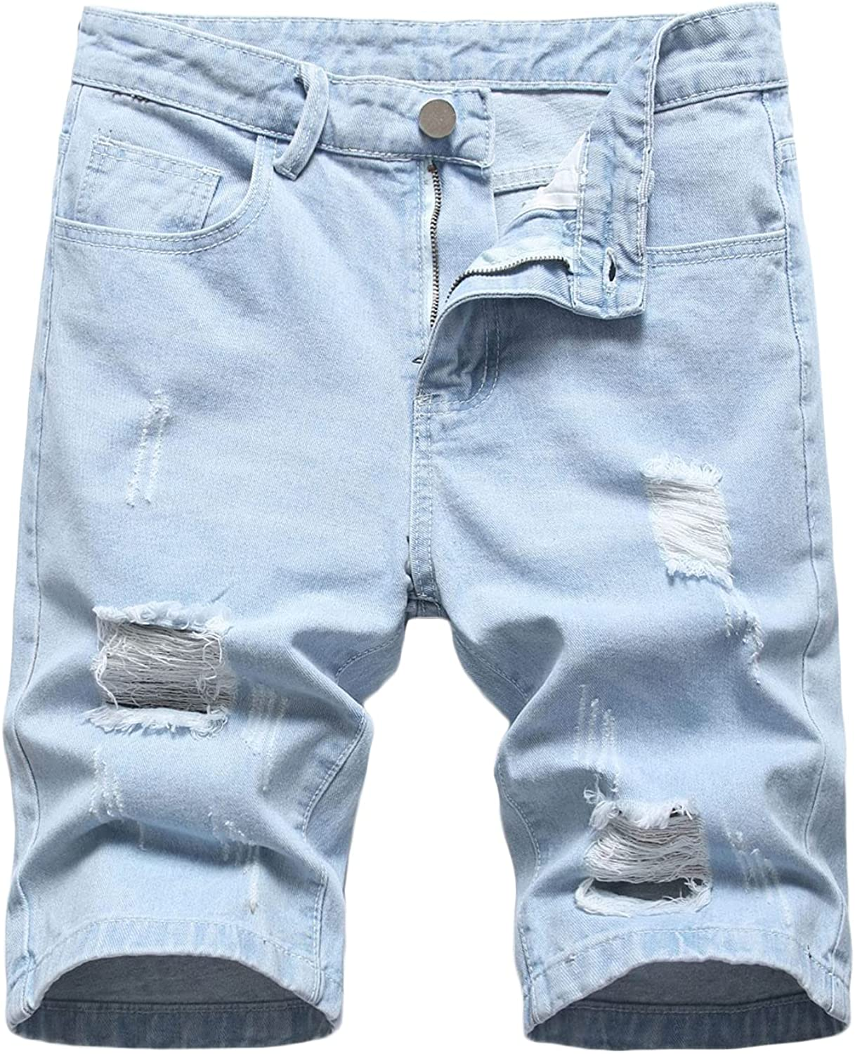 Men's Selling and selling Destroyed Straight Leg Jean Washed Ripped Broken De Shorts Special price for a limited time