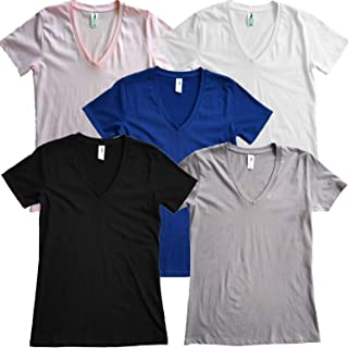 Women's 100% Cotton V-Neck T-Shirts 6.25 oz Mid Weight Preshrunk 5-Pack