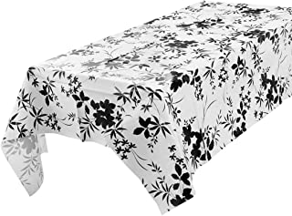 uxcell Vinyl Rectangle Table Cover Wipe Clean PVC Tablecloth Oil-Proof/Waterproof Stain-Resistant - 55 x 70 Inch (Bamboo in Black)