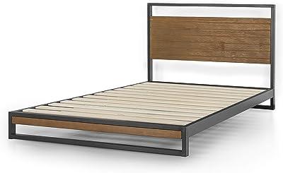 Zinus (ジヌス) ベッド フレーム シングル 18cm メタル 木製ヘットボード付き Ironline 【日本正規品】