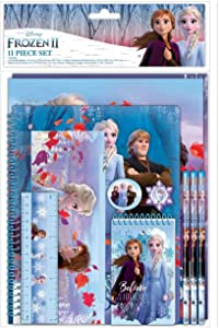 Innovative Designs Frozen 2 Kids School Supplies Set with Pencil Case, Pencils, Notebook - 11 Pcs.