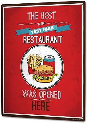 LEotiE SINCE 2004 Plaque en M/étal M/étallique Poster Mural tin Sign 40x30 cm Nostalgique Fun Burger Maison