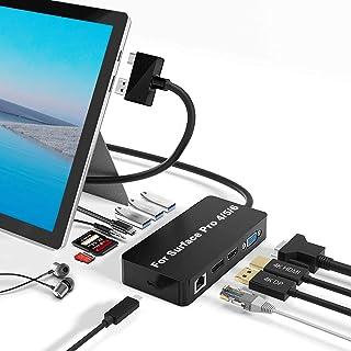 【亜鉛合金ボディー】SurfacePro4/5/6用のSurfaceProドッキングステーション、3つのビデオディスプレイポート(HDMI+DP+VGA)、1000Mb/sギガビットネットワークポート、USBCデータポート、3...