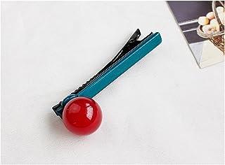 Osize 美しいスタイル ラウンドボールキャンディーカラーバングヘアピンダックビルクリップサイドクリップ(レッド+ダークグリーン)