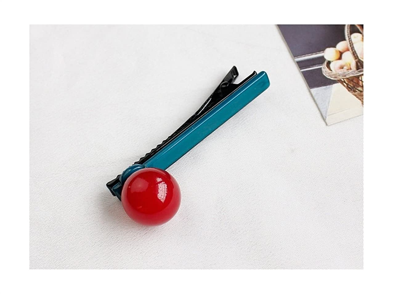必要性電気的花に水をやるOsize 美しいスタイル ラウンドボールキャンディーカラーバングヘアピンダックビルクリップサイドクリップ(レッド+ダークグリーン)