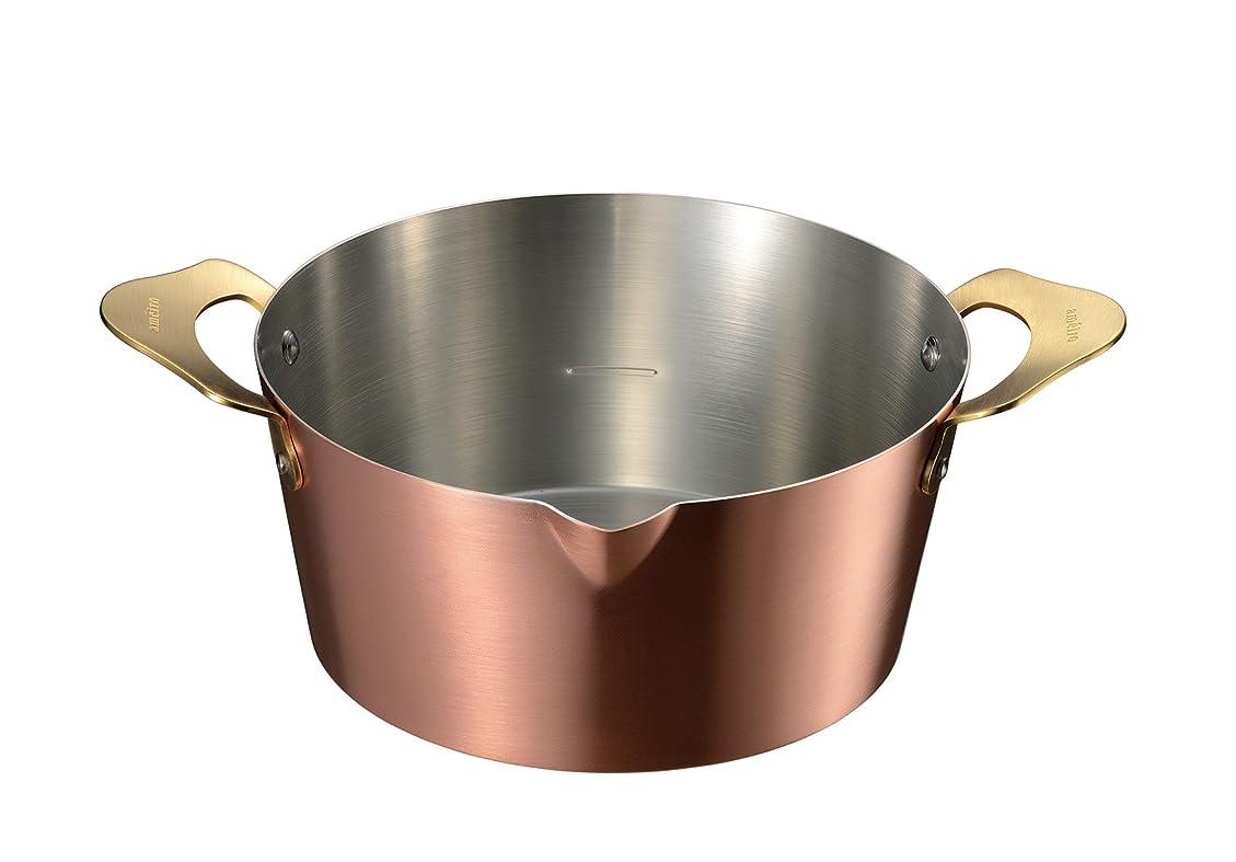 神話水を飲む堤防オークス ameiro 両手鍋 銅 揚げ物 18cm COS8005