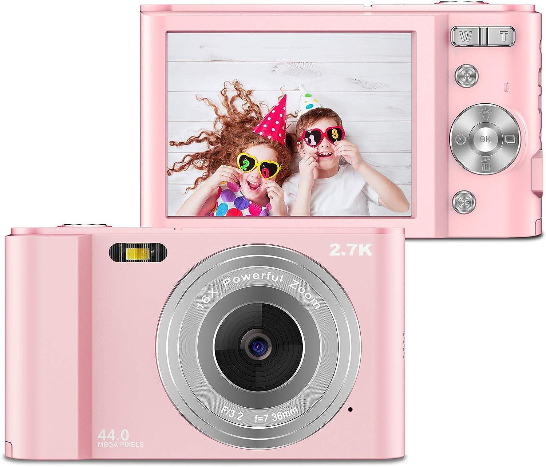 ZORNIK 2.7K Compacta Cámaras Digitales, Cámara Compacta 2.88 Pulgadas LCD Recargable HD 44 Megapíxeles Zoom Digital 16x, Estudiantes para Adultos/Mayores/Niños (Pink)