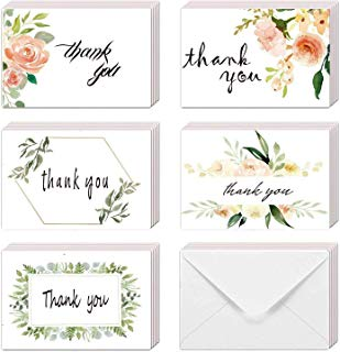 "EHME Floral Thank You Cards for Wedding, Bridal Shower, Baby Shower Thank You Notes Card with Envelopes and Stickers, 40 Bulk Pack Greenery Flower Greeting Cards 4 x 6"" Size, Blank On the Inside"