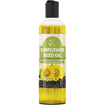 Sunflower Seed Oil (4 oz) by Pure Ingredients, Vegan, Non-GMO, Therapeutic Grade, Paraben Free, Silicone & Sulfate Free, BPA-Free Clear Bottle