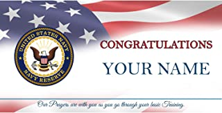 BANNER BUZZ MAKE IT VISIBLE Congratulations United States Veteran Navy Personalized Name Banner 11 Oz Vinyl PVC Flex Banners with Hemmed Edges & Metal Grommets Free (3' X 2')