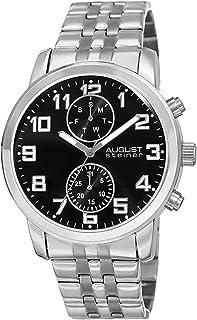 ساعة اوغست شتاينر للرجال بمينا سوداء وبسوار ستانلس ستيل - AS8175SSB-1