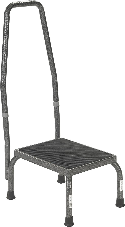 2 Tier Footstool Round Kick Step Stool Non Slip Metal Rubber Supermarket Shop