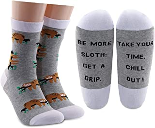 AATOP, Calcetines de algodón con perezoso para regalar a los amantes de los perezosos, con texto en inglés