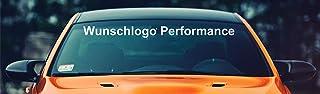 "Aufkleber Kit Wunschlogo Wunschname PERFORMANCE 90 cm' Frontscheibe Aufkleber mit Montage Set inkl.'Estrellina Montage Rakel®' & ""Estrellina Glücksaufkleber®"","
