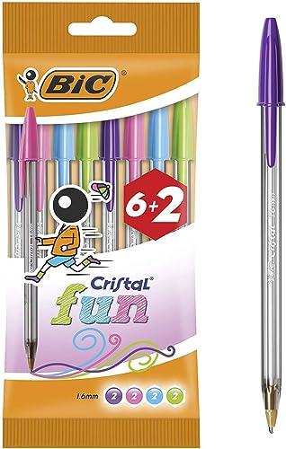 Bic Cristal Bolígrafos de Colores Surtidos, Fun, Punta Ancha (1,6 mm), Material Oficina, Blíster de 8 Bolis