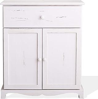 Rebecca Mobili Aparador Blanco Muebles Multiusos Shabby 1 cajón 2 Puertas Madera de Paulownia Estilo Shabby Vintage ...