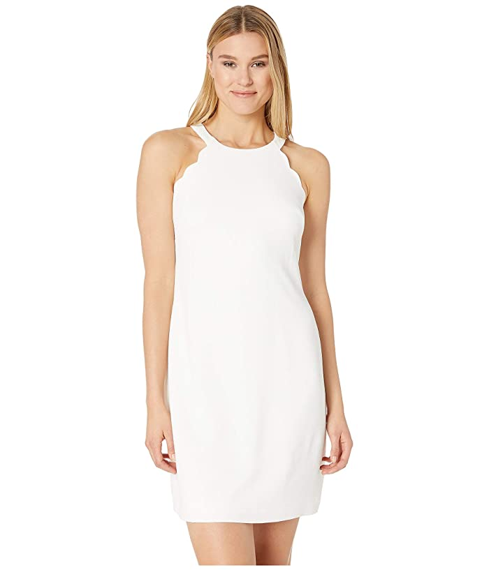 Adrianna Papell Cameron Textured Woven Scalloped Halter A-Line Dress (Ivory) Women