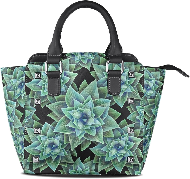 My Little Nest Women's Top Handle Satchel Handbag Vintage Cactus Ladies PU Leather Shoulder Bag Crossbody Bag