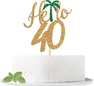 Gold Glitter Hello 40 Cake Topper - Hello 40 - Cheers to 40 Years - I'm 40 Bitches - Happy 40th Birthday/Anniversary Party...