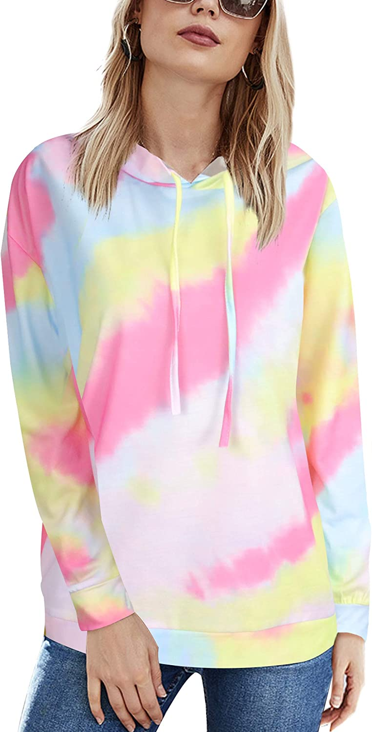 Women's Tie Dye Sweatshirts Hooded Pullover With Pockets Long Sleeve Casual Cowl Neck