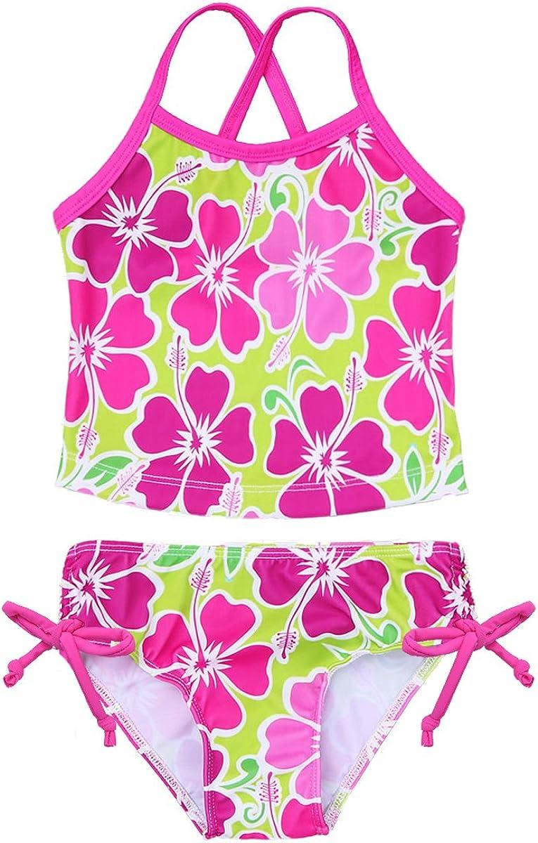 iEFiEL M/ädchen Badeanzug Hawaii Blumen Drucken Kleid Badeanzug Bikini Tankini Sets Gr 98 104 116 128 140 152 164
