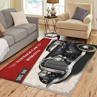 Semtomn Area Rug 5' X 7' 1950S Vintage Car 1940S Antique Auto Retro 1930S 1960S Home Decor Collection Floor Rugs Carpet for Living Room Bedroom Dining Room